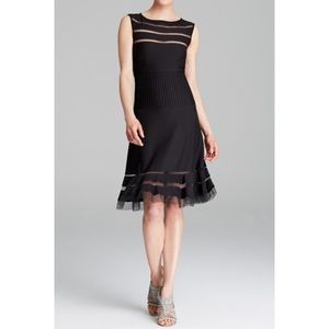 Tadashi Shoji Black Illusion Sleeveless Mesh Dress